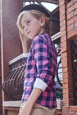 男童长袖格子衬衫秋装中大童纯棉儿童衬衣